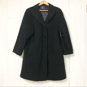 Jay Wool and Cashmere Black Trench Coat Size 10